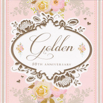 Stephanie Rose Golden 50th Anniversary Card
