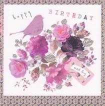 Stephanie Rose Flower Bouquet And Bird Birthday Card