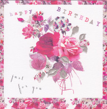 Stephanie Rose Flower Bouquet Birthday Card