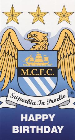 Manchester City - Crest Birthday Card - Die Cut