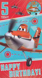 Disney Planes 5th Birthday Card With Badge