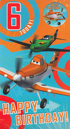 Disney Planes 6th Birthday Card With Badge