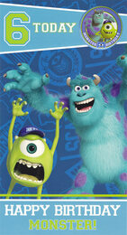 Monster University 6th Birthday Card With Badge