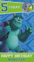 Monster University 5th Birthday Card With Badge