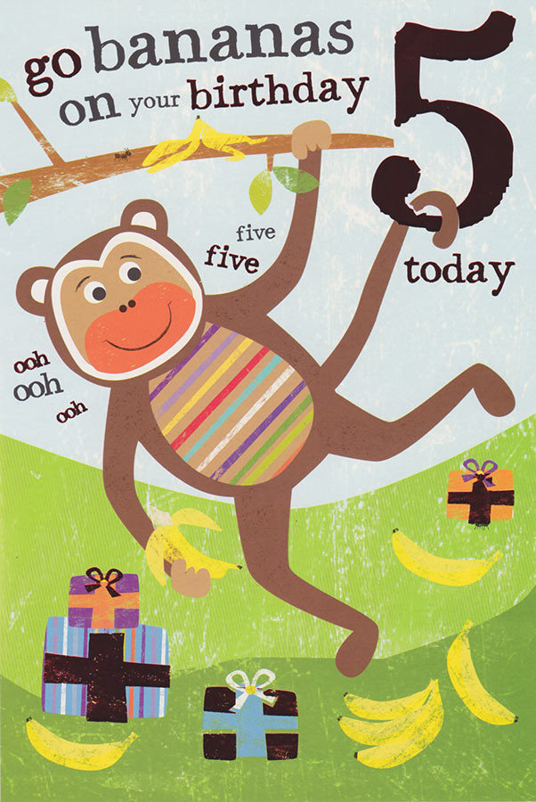 Safari Kids Age 5 Birthday Card Loading Zoom