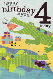 Safari Kids age 4 Birthday Card