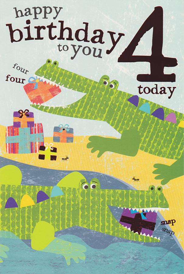 Safari Kids 4th Birthday Card Crocodile Cardspark