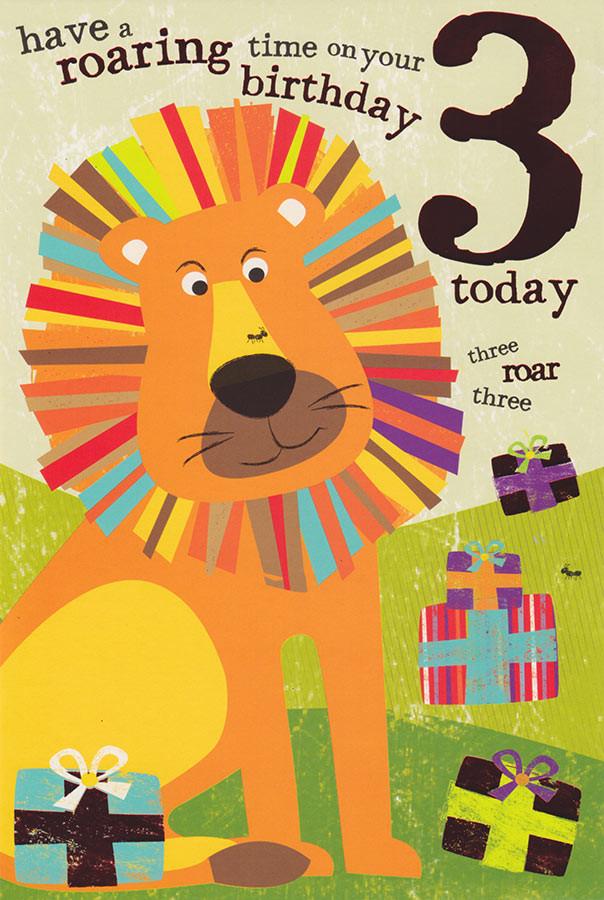 Safari Kids 3rd Birthday Card Lion Cardspark