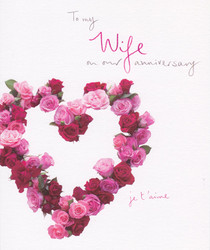 Wife Heart Rose Anniversary Card