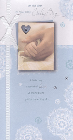 Crystal And Lace Baby Boy Card