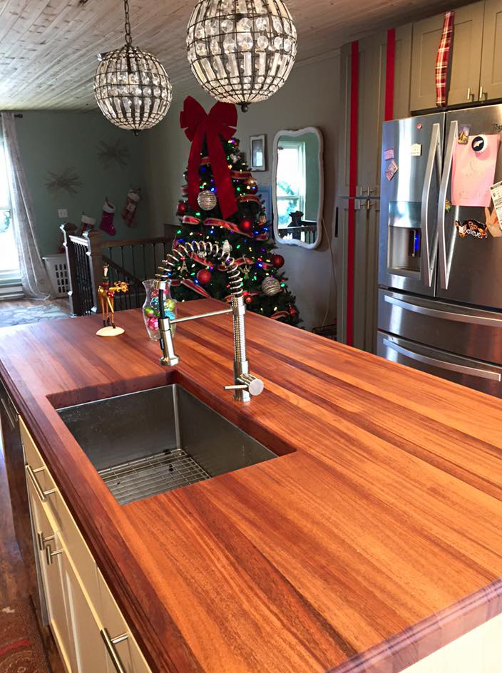 african mahogany butcher block countertop with monocoat finish