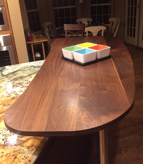 Wide Plank Walnut Bar Top With Everlast Varnish