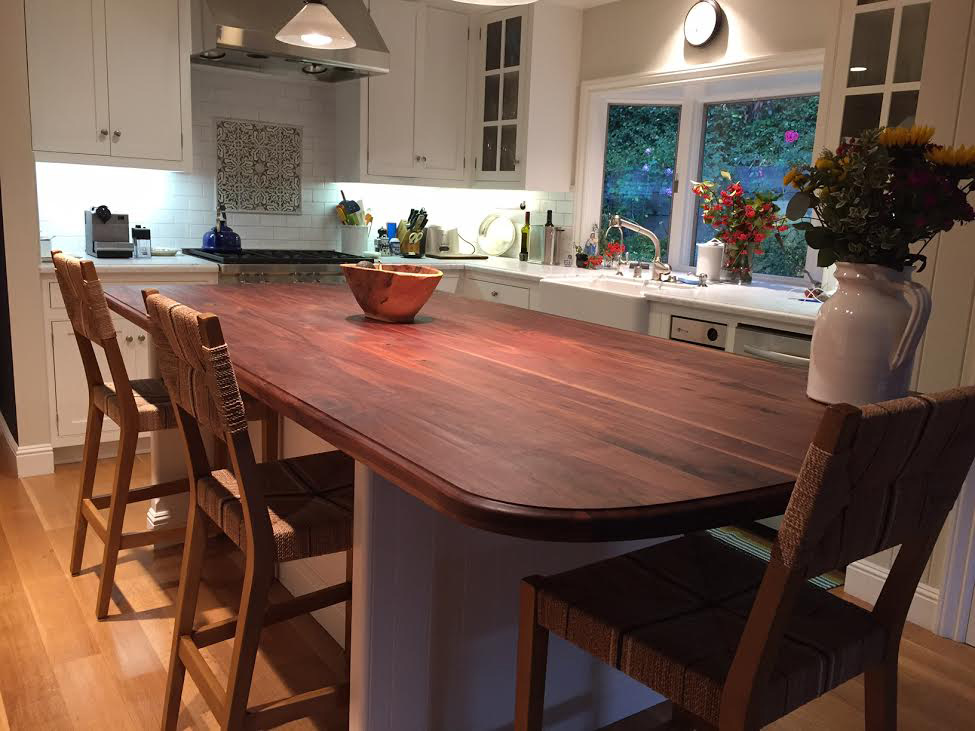 Wide Plank Walnut Countertop with Butcher Block Conditioner