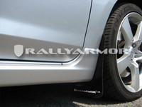 Rally Armor Black/White Urethane  Mud Flaps - 2004-2009 Mazda3/Speed 3