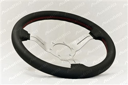 Nardi Deep Corn 330mm Steering Wheel - Black Leather with White Anodized Spoke / Red Stitching