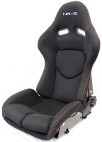NRG Reclinable FRP Bucket Seat - Black with Red Stitching