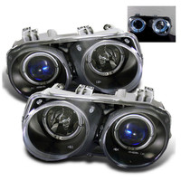 Acura Integra 94-97 Projector Headlights - LED Halo -Black - High H1 - Low 9006