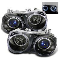 Acura Integra 94-97 Projector Headlights - LED Halo -Black - High H1 - Low 9006