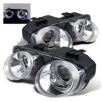 Acura Integra 94-97 Projector Headlights - LED Halo -Chrome - High H1 - Low 9006