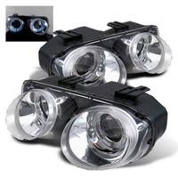 Acura Integra 94-97 Projector Headlights - LED Halo -Chrome - High H1 - Low 9006