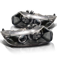 Honda Civic 06-08 2Dr Projector Headlights - LED Halo - Black - High H1 - Low H1