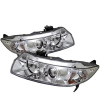 Honda Civic 06-08 2Dr Projector Headlights - LED Halo - Chrome - High H1 - Low H1