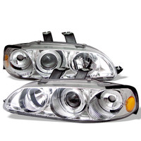 Spyder Honda Civic 92-95 2/3DR 1PC Projector Headlights - LED Halo - Amber Reflector - Smoke - High H1 - Low H1