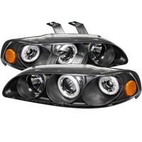 Honda Civic 92-95 2/3DR 1PC Projector Headlights - CCFL Halo - Black - High H1 - Low H1
