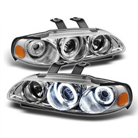 Honda Civic 92-95 2/3DR 1PC Projector Headlights - CCFL Halo - Chrome - High H1 - Low H1