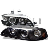 Honda Civic 92-95 4Dr 1PC Projector Headlights - LED Halo - Amber Reflector - Black - High H1 - Low H1
