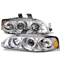 Honda Civic 92-95 4Dr 1PC Projector Headlights - LED Halo - Amber Reflector - Chrome - High H1 - Low H1