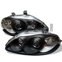 Honda Civic 96-98 Projector Headlights - LED Halo - Amber Reflector - Black - High H1 - Low H1