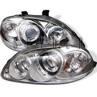 Honda Civic 96-98 Projector Headlights - LED Halo - Amber Reflector - Chrome - High H1 - Low H1