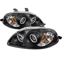 Honda Civic 96-98 Projector Headlights - CCFL Halo - Black - High H1 - Low H1