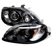 Honda Civic 99-00 Projector Headlights - LED Halo - Black - High H1 - Low H1
