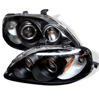 Spyder Honda Civic 99-00 Projector Headlights - LED Halo - Smoke - High H1 - Low H1