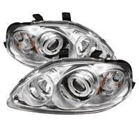 Honda Civic 99-00 Projector Headlights - CCFL Halo - Chrome - High H1 - Low H1