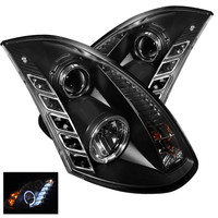 Infiniti G35 03-07 2DR Projector Headlights - Halogen Model Only - LED Halo - DRL - Black - High H4 - Low H7
