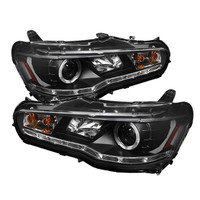 Mitsubishi Lancer / EVO-10 08-13 Projector Headlights - Xenon/HID Model Only - LED Halo - DRL - Black -