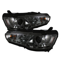 Mitsubishi Lancer / EVO-10 08-13 Projector Headlights - Xenon/HID Model Only - LED Halo - DRL - Smoke -