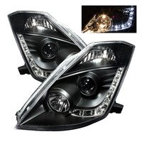 Nissan 350Z 03-05 Projector Headlights - Halogen Model Only - DRL - Black
