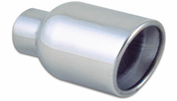 "Vibrant Performance Weld-On 4"" Round Stainless Steel Exhaust Tip (Double Wall, Angle Cut)"
