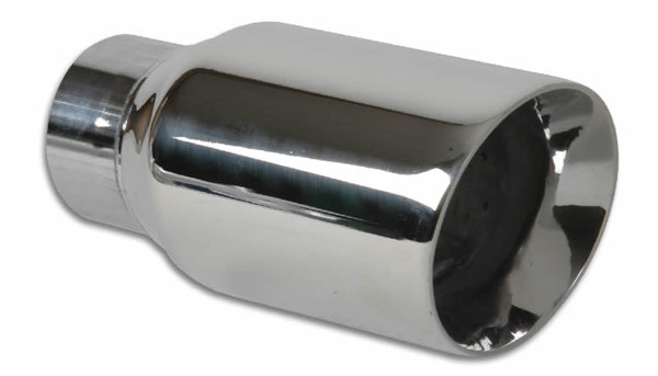 "Vibrant Performance Weld-On 3"" Round Stainless Steel Exhaust Tip (Double Wall, Angle Cut)"