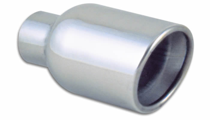 """Vibrant Performance Weld-On 3.5"""" Round Stainless Steel Exhaust Tip (Double Wall, Angle Cut)"""