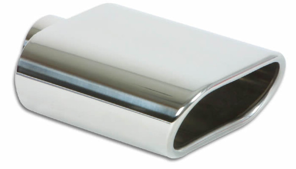 "Vibrant Performance Weld-On 5.5"" x 3"" Oval Stainless Steel Exhaust Tip (Single Wall, Angle Cut)"