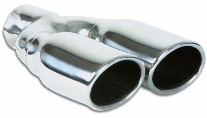 """Vibrant Performance Weld-On Dual 3.25"""" x 2.75"""" Oval Stainless Steel Exhaust Tips (Single Wall, Angle Cut)"""