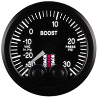 Stack Pro-Control Boost Pressure Gauge - -30inHg to +30 psi - 52mm