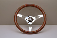 Nardi Deep Corn 330mm Steering Wheel - Wood Grain with Polished Spokes
