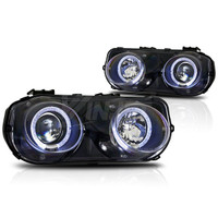 Winjet Projector Headlight Replacements  (Black / Clear) - Acura Integra 94-97