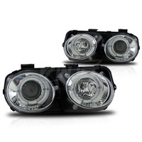 Winjet Projector Headlight Replacements  (Chrome / Clear) - Acura Integra 98-01